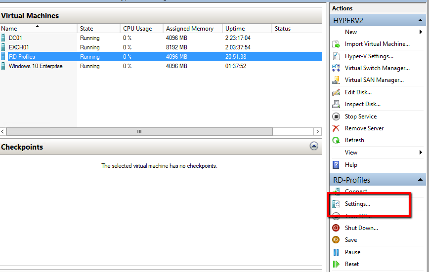 How to attach an existing vhd/x in Virtual Machine with HYPER-V