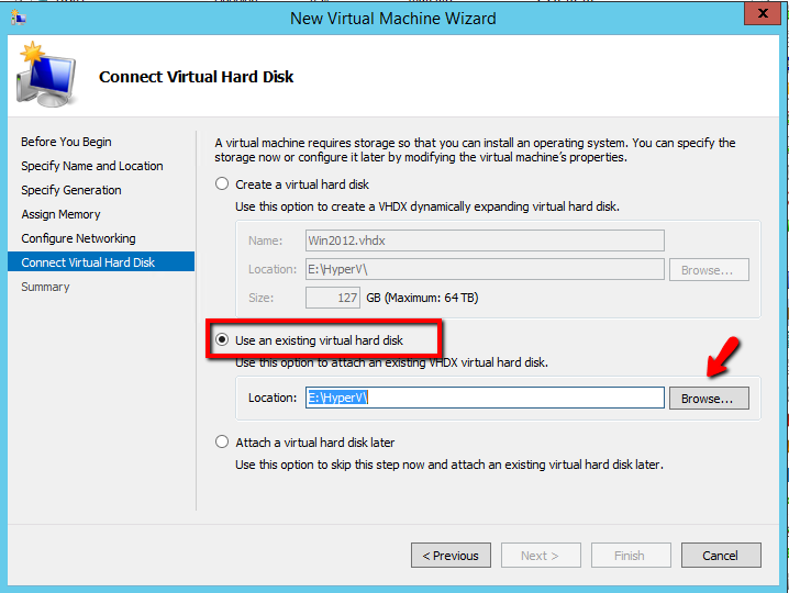 How to attach an existing vhd/x in Virtual Machine with
