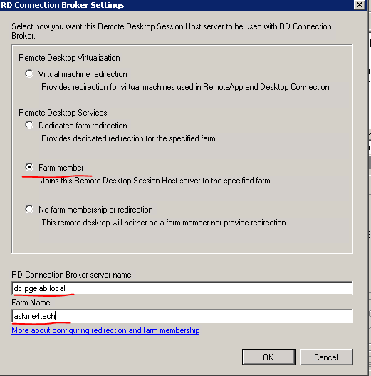 Remote desktop connection broker failed to redirect