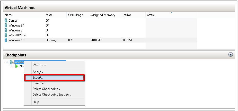 Export VM from CheckPoint