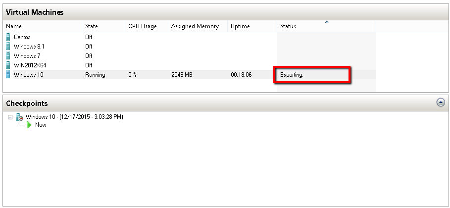 Exporting Status of Virtual Machine