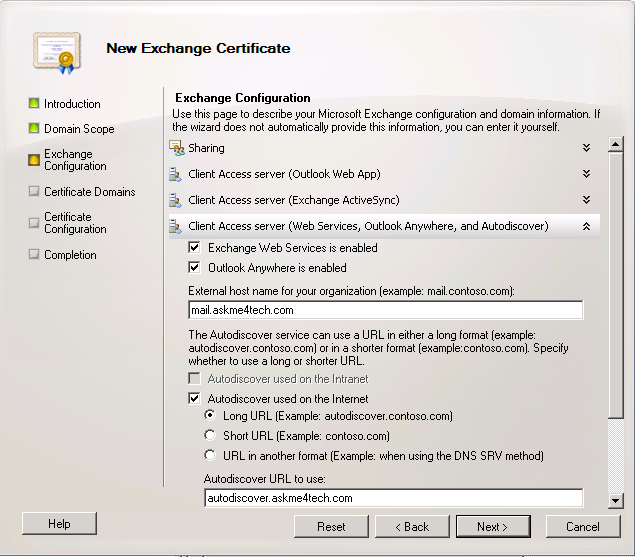 Change Internal Names in Exchange Server for new SSL