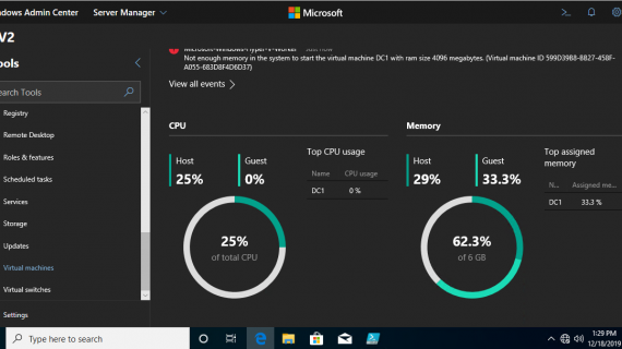 How to manage & monitoring HYPER-V Server Core with Windows Admin Center