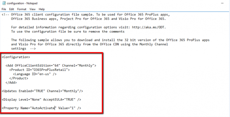 Office 365PrPlus Configuration xml file