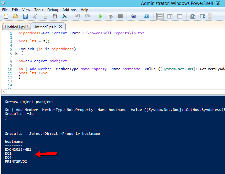 How to resolve ip address to hostname with Powershell