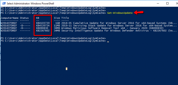 Get Windows Updates from powershell command