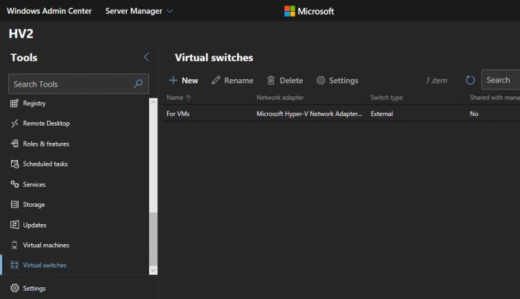 Windows Admin Center - Virtual Switches