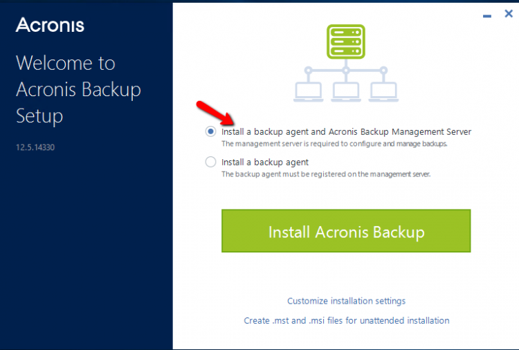 Setup Acronis Backup 12.5 - Step 2