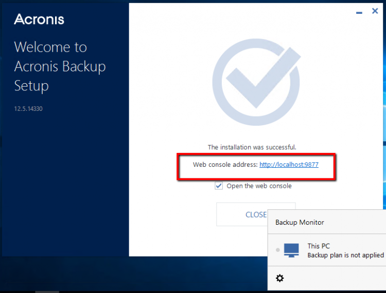 Setup Acronis Backup 12.5 - Step 4