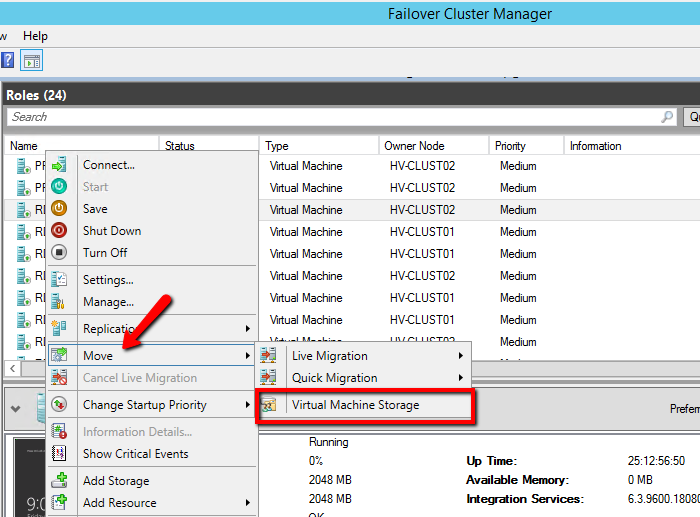 How migrate Virtual Machine Storage in HYPER-V Failover Clustering