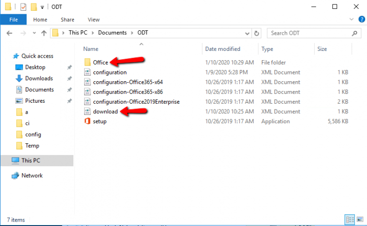 Office folder when download the Office365 ProPlus