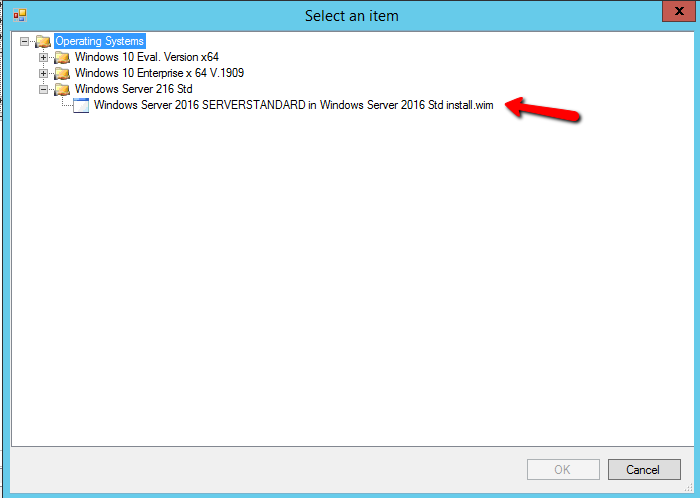 Select Operating System for the Task Sequence in MDT
