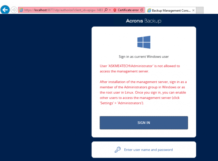 Error while try to sign in to Acronis Backup Management Server