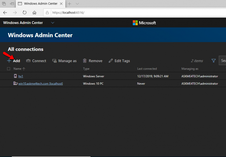 Windows Admin Center All Connections