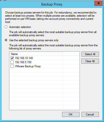 Proxy settings veeam