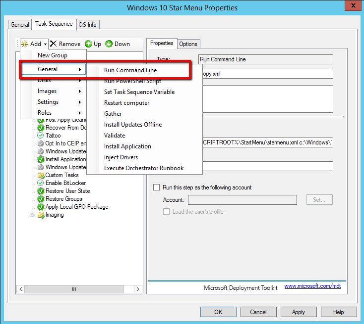How can deploy Windows 10 Customized Start Menu with MDT 2013